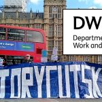 The DWP logo and a protest outside parliament by disabled people