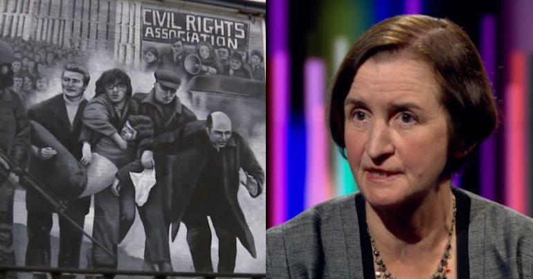 A mural depicting Bloody Sunday in Northern Ireland, with Labour shadow defence secretary, Mia Griffith, pictures alongside