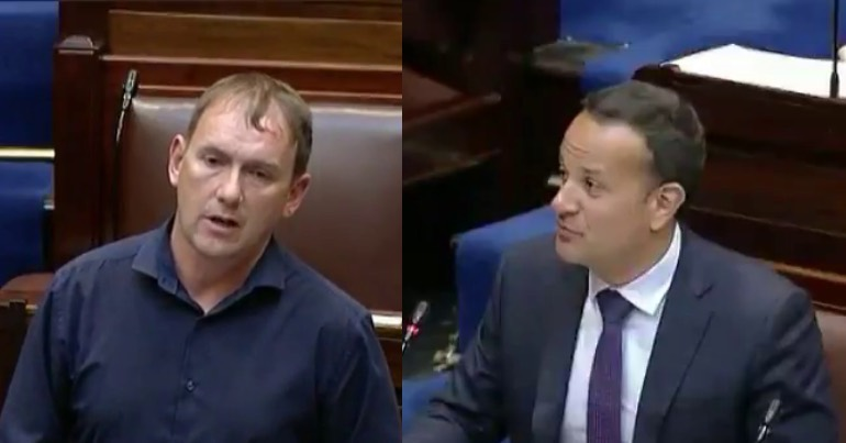 A photo of Gino Kenny and Leo Varadkar in the Irish parliament.