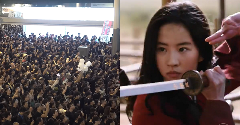 Split image of a sea of protesters in Hong Kong and actress Liu Yifei in Disney's live action Mulan