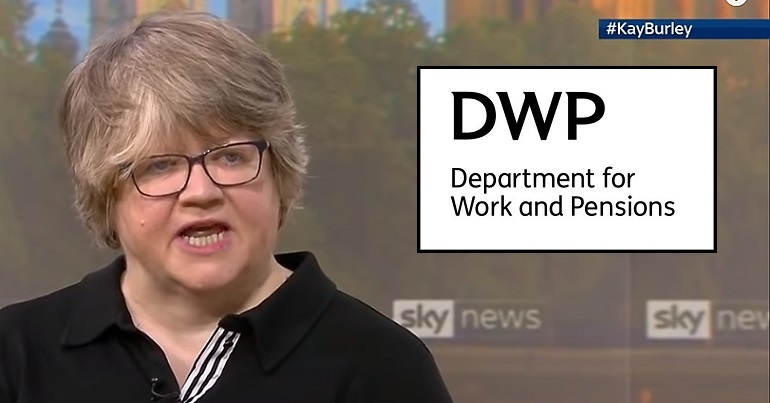 Therese Coffey on Sky News and the DWP logo