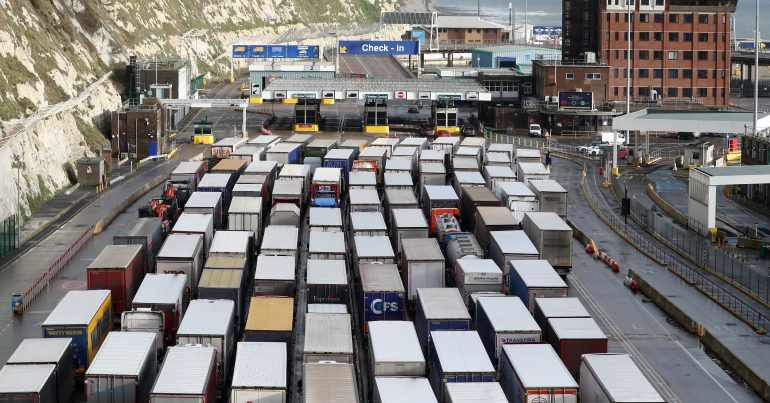 Queues of Brexit lorries