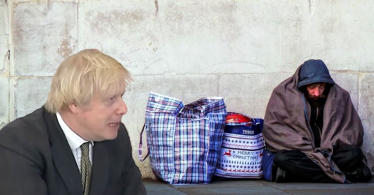 A homeless person in destitution and Boris Johnson