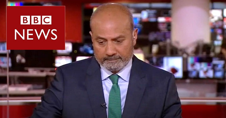 George Alagiah and the BBC News logo