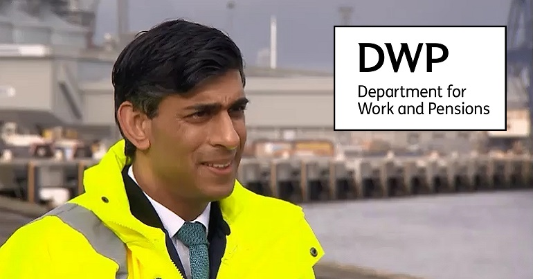 Rishi Sunak on the Money Show and the DWP logo